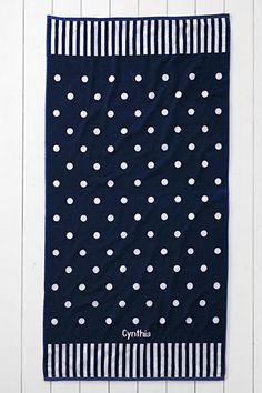 loving these navy and white polka dot beach towels from @landsend