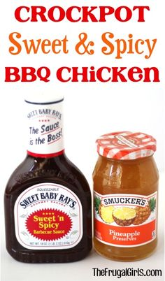 Crockpot Sweet and Spicy BBQ Chicken Recipe! ~ this delicious Slow Cooker dinner is full of flavor and zesty zing! #slowcooker #recipes #thefrugalgirls