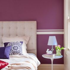 You've got paint projects, we've got a gazillion ideas.. . Here's a few of them. We've got plenty more in store. Interior Color Schemes, Purple Interior, Colour Schemes, Tall Headboard, Purple Rooms, The White Stripes, Colorful Interiors, Bedroom Wall, Bedroom Ideas
