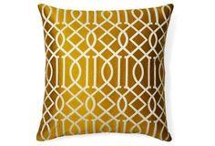 Jax 20x20 Embroidered Pillow, Mustard