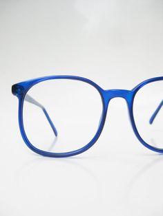 0f5dfbcda4 Vintage Oversized Eyeglasses 1970s Round Sapphire Blue Sea Dark Navy 70s  Huge Nerd Geeky Indie Glasses Optical Frames Ladies Womens