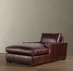 RH's Maxwell Leather Chaise:Maxwell& streamlined design features a low back and wide, squared-off seat and back cushions. Leather Sectional Sofas, Leather Sofa, Fireplace Seating, Library Fireplace, Couch Furniture, Leather Furniture, Furniture Ideas, Restoration Hardware, Home Interior Design