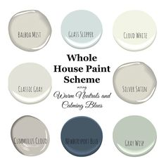 A pretty and fresh whole home paint color scheme using warm neutrals and calming blues. See photos of the paint colors used in actual rooms. (paint my photo benjamin moore)