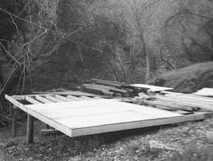 laying the footprint for Mason St. Peter's cabin in Topanga Canyon