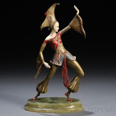 Cast After a Model by Gerda Iro Gerdago (fl. Early 20th Century) Art Deco Bronze and Ivory Enamel-decorated Figure of a Dancer