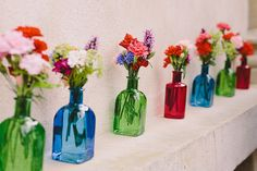 Multicolour Bottle Flowers Quirky Cool Summer Germany Wedding…