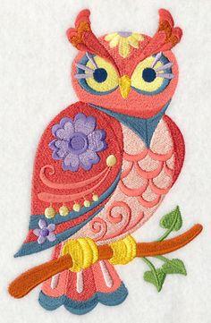 Flower Power Owl brodé farine sac main/torchon
