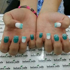 Teal and white nails