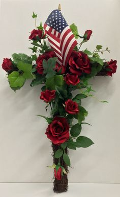 Happy Memorial Day Weekend: Faux Floral Grapevine Cross with Dutch rose, sweetheart roses and ivy with American flag. Original Design & Arrangement By http://nfmdesign.synthasite.com/