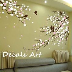 White Flower Tree Wall Sticker - wall decals ideas: awesome wall ...