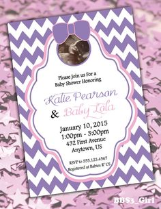 Modern Chevron Girl Baby Shower Invitations with Ultrasound Photo by six8twelvedesigns