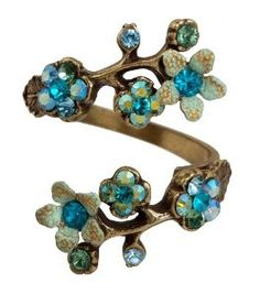 Michal Negrin Wrap Ring with Hand-Painted Flowers, Leaves, Turquoise, Blue and Green Swarovski Crystals,$58.00