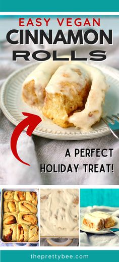 These are the easiest, fluffiest, vegan cinnamon rolls! You will love this special treat for the holidays. Enjoy with a cup of cocoa or hot cider! #easy #icing #homemade #best