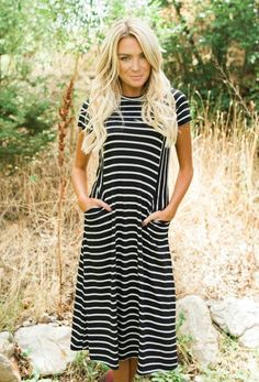 bbfd859b65be8 NEW DRESS ARRIVALS! This adorable Violet Black Striped Dress is everything  you could ever want