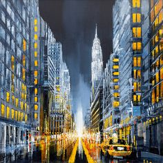 New York City in a nutshell! Contemporary artist Simon Wright has created this unbelievable cityscape of New York! Call the gallery today on 01482 876003 to secure your perfect piece of artwork! City Painting, Light Painting, Cartoon Painting, Painting & Drawing, Dark City, Paris Art, Amazing Drawings, City Break, Bright Lights