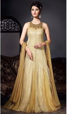 Tan Brown Color Net Fabric Designer Ethnic Readymade Gowns | FH450770711 #gowns , #designer , #womens , #wedding , #evening , #party , @heenastyle , #readymade , #online , #mode
