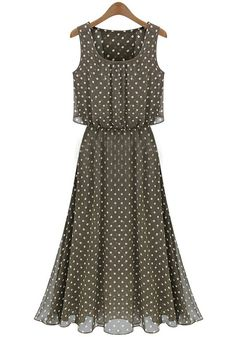 Khaki Polka Dot Sleeveless Chiffon Maxi Dress