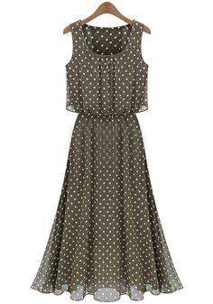 Khaki Polka Dot Sleeveless Chiffon Maxi Dress-bought it
