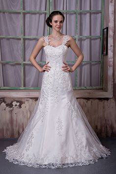 A-line Sweetheart Lace Stretch Satin Court Train Wedding Dress