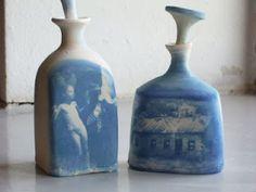 cyanotype ceramics by Rebecca Barfoot