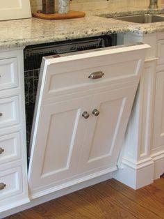 Dishwasher panel. Love the idea of a hidden dishwasher.