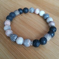 Vintaj jewelry Ideas - Pink and Gray Mixed Color Zebra Jasper & Lava Rock Bead 7 Size Essential Oil Diffuser Stretch Bracelet Lava Bracelet, Gemstone Bracelets, Bracelet Making, Jewelry Bracelets, Jewelry Making, Jewellery, Gemstone Necklace, Rock Jewelry, Beaded Jewelry