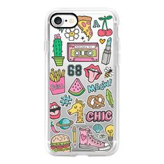Patches Stickers 90's Audio Tape, Cactus, Giraffe,Shoes,... (145 AED) ❤ liked on Polyvore featuring accessories, tech accessories, iphone case, iphone cover case, apple iphone case and iphone cases