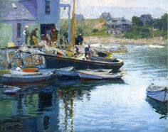 Edward Henry Potthast (American, 1857-1927)  Gloucester Bay and Dock,  Private collection, oil on canvas