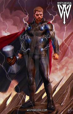 Thor (by: Wizyakuza) Marvel Comic Universe, Marvel Dc Comics, Marvel Heroes, Marvel Cinematic Universe, Odin Marvel, Marvel Fan, Marvel Avengers, Marvel Comic Character, Marvel Characters
