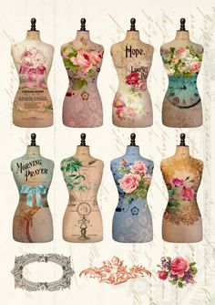 Digital Collage Sheet TORSO Printable Dress Form Images for Scrapbooking or decoupage, Vintage Paper Decoupage Vintage, Vintage Diy, Vintage Paper Crafts, Images Vintage, Vintage Tags, Vintage Labels, Vintage Ephemera, Vintage Prints, Vintage Dress