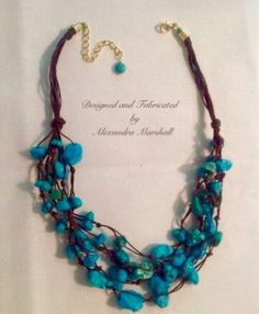 """This layered turquoise nugget necklace by Alexandra Marshall is hand tied on brown waxed Irish linen cords. 18"""" 20"""" long. #N2001. $104. Double click photo to order."""