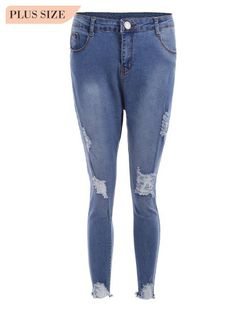bf5208cb5d5d3d Distressed Cutoffs Plus Size Jeans (Blue)
