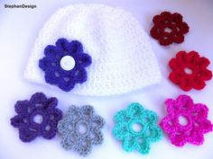 Baby Girl HatBeanie with 7 FlowersGirly Shower by StephanDesign, $18.00