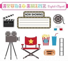 Hollywood+Party+Clip+Art | ... Clipart - Show Time - Clip art for scrapbooking, party invitations