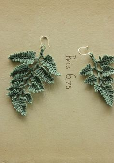 These are amazing! Crochet tiny fern leaf earrings