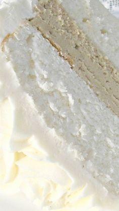 White Almond Wedding Cake ~  so moist, dense, and delicious
