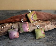 Mokume gane hollow square earrings. | Polymer clay jewelry. … | Flickr