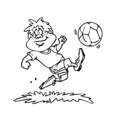 Boy Kicking Soccer Ball High Coloring Pages