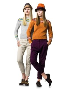 """""""In this image: Sweater (1004E1621); Trousers (4AI657003); Trousers (4AI655275); Hat (6GPZD4141); Shoes (8GGGB3091). Fall/Winter 2012 United Colors of Benetton woman collection."""""""