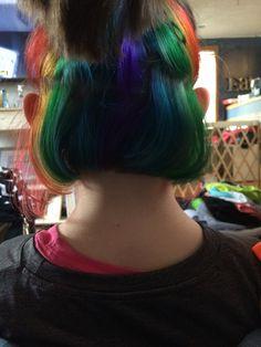 Peekaboo rainbow hair