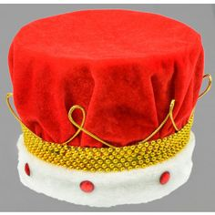 Crown measures in diameter and stands tall. Red Jewel, Diy Crown, Kings Crown, White Fur, Gold Beads, Fur Trim, Fathers Day, Nativity, Diy Ideas