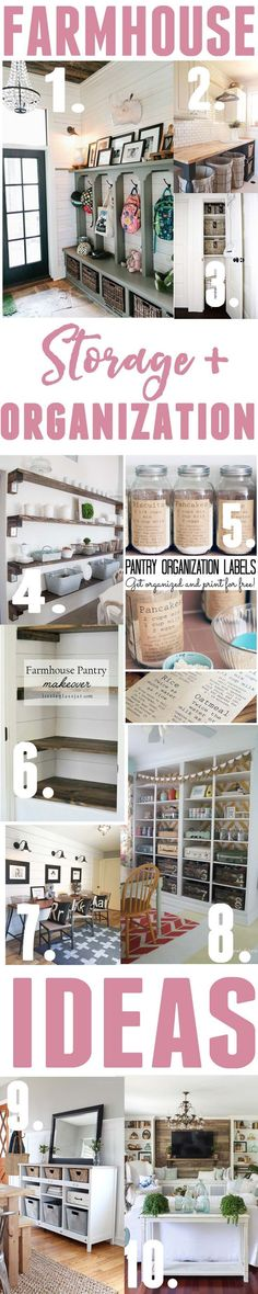 Living Room decor - rustic farmhouse style. Farmhouse Storage and Organization Ideas
