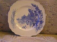 """Vintage  Square Blue Transferware Plate in """"Meadowsweet"""" Pattern Produced by Myott & Sons England by SterlingHeirloom on Etsy"""