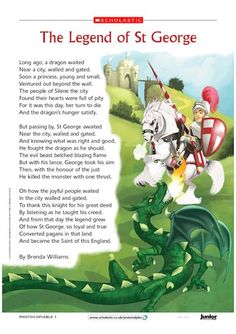 Celebrate St George's Day with this illustrated poem. Saint George Day, Saint George And The Dragon, Elderly Activities, English Activities, Craft Activities For Kids, St Michael Feast Day, Grayson Perry Art, Wells House, Saint Feast Days