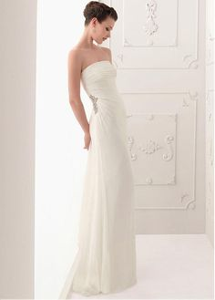 ELEGANT CHIFFON SHEATH STRAPLESS NECKLINE WEDDING DRESS WITH RHINESTONES BEADINGS LACE BRIDESMAID PARTY COCKTAIL