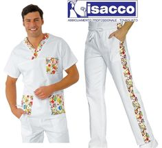 Casacca m.corta e pantalaccio isacco Smile in 100% cotone bianco