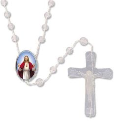 """Catholic Youth Gift Luminous Glow in the Dark Sacred Heart Centerpiece Cord Rosary Necklace. Material: Moulded / Epoxy. Rosary Length: 17"""" / Crucifix Size: 1 1/2"""". Gift for Catholics, Men, Women, Youth, Ministers, and more. Makes a great gift!."""