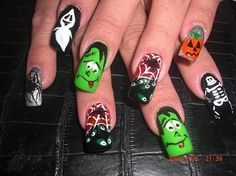 Halloween Nails Acryl Nails - looks like a party to me! Love Nails, How To Do Nails, Pretty Nails, Fun Nails, Halloween Nail Designs, Halloween Nail Art, Halloween 2013, Scary Halloween, Nails For Kids