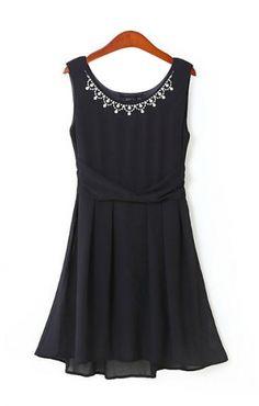 Black Gemstone Decorated Neckline Sleeveless Chiffon Dress