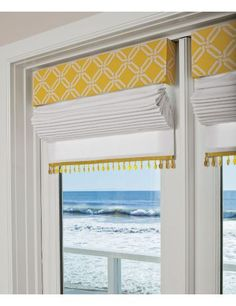 Sunny treatment. Nice pick up of color from cornice to trim